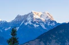 Picchi mistici di Chaukhamba dell'Himalaya di Garhwal durante l'alba dal campeggio di Deoria Tal Immagini Stock