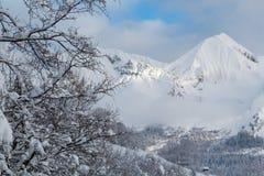 Picchi nevosi bianchi delle montagne in alpi francesi Immagini Stock