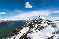 Picchi nevosi della montagna con un ponte che passa attraverso la gola fotografia stock libera da diritti