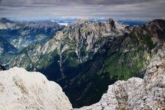Picchi sopra le valli di Zadnjica e di Trenta, Julian Alps, Slovenia Fotografia Stock