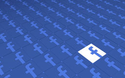Picchiettio dei segni di Facebook della rete sociale Immagini Stock Libere da Diritti