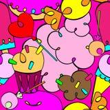 Picchiettio senza cuciture Dolci del fumetto Royalty Illustrazione gratis