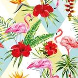 Picchiettio senza cuciture tropicale dei fiori e delle piante del fenicottero della composizione Fotografia Stock