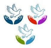 Piccione del volo di pace dall'icona aperta delle mani Carità, ecologia, logo di vettore dell'ambiente naturale o simbolo Immagini Stock
