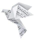 Piccione di origami con le note musicali Fotografie Stock Libere da Diritti