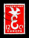 Piccione stilizzato sopra la E, europa (C E P T ), serie della lettera E, CIR Fotografia Stock Libera da Diritti