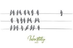 Piccioni disegnati a mano che si siedono sui cavi in tre linee Immagine Stock