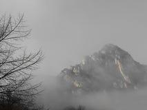 Picco di alta montagna riempito di nebbia Immagini Stock