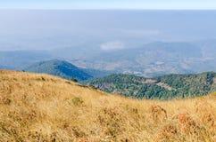 Picco di montagna con il prato asciutto Fotografie Stock Libere da Diritti