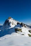 Picco di montagna della neve Fotografie Stock Libere da Diritti