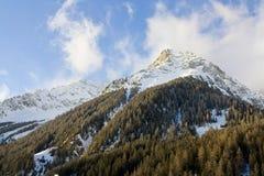 Picco di montagna innevato Fotografia Stock