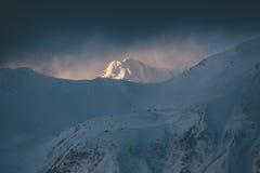 Picco di montagna innevato d'ardore, Haines Alaska Fotografia Stock Libera da Diritti