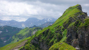 Picco di montagna nel verde fertile dopo una pioggia di estate nelle alpi svizzere Fotografia Stock