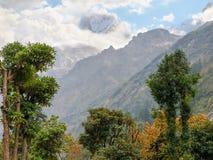 Picco di montagna parzialmente in nuvole con gli alberi nella priorità alta Fotografia Stock Libera da Diritti