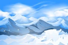 Picco di montagne con la scena della neve Fotografia Stock Libera da Diritti