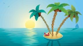 Piccola alba del paesaggio dell'isola Immagini Stock Libere da Diritti