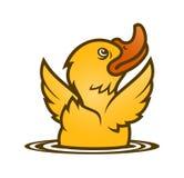 Piccola anatra gialla del bambino che emerge dall'acqua illustrazione di stock