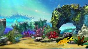 Piccola animazione gialla del pesce dell'acquario stock footage