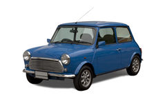 Piccola automobile antica su priorità bassa isolata bianca Immagine Stock