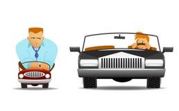 Piccola automobile della grande automobile Immagini Stock