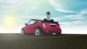 Piccola automobile su erba e su estate Fotografia Stock