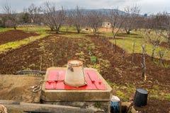 Piccola azienda agricola nel campo di verdure della Croazia, frutteto, bene in primavera Fotografie Stock Libere da Diritti