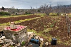 Piccola azienda agricola nel campo di verdure della Croazia, frutteto, bene in primavera Fotografia Stock