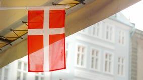 Piccola bandiera danese che ondeggia nel vento e nella pioggia archivi video