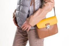 Piccola borsa di cuoio ordinata Fotografia Stock
