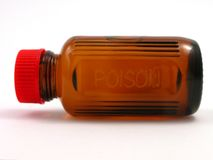Piccola bottiglia del veleno con la protezione rossa Immagine Stock Libera da Diritti