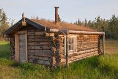 Piccola cabina al sito storico forte di Selkirk Fotografia Stock