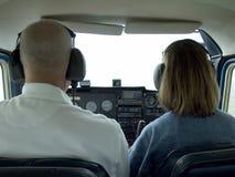 Piccola cabina di guida interna dell'aeroplano Fotografie Stock