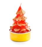 Piccola candela nella figura dell'albero di Natale Immagine Stock