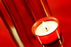 Piccola candela votive rossa Fotografie Stock Libere da Diritti
