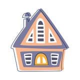 Piccola capanna di legno nel colore blu e rosa, illustrazione del fumetto descritta elemento sveglio del paesaggio della città di royalty illustrazione gratis