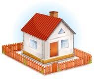 Piccola casa con la rete fissa illustrazione di stock