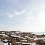 Piccola casa in Islanda del nord Fotografia Stock Libera da Diritti