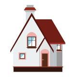 Piccola casa su priorità bassa bianca Fotografia Stock