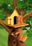 Piccola casa sulla parte superiore dell'albero royalty illustrazione gratis