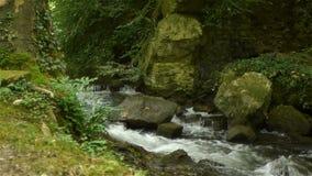 Piccola cascata al giardino del castello di Canon, Francia video d archivio