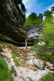 Cascata nelle alpi di Julian in Slovenia Immagini Stock Libere da Diritti