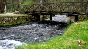 Piccola cascata piacevole sul flusso della montagna archivi video