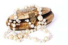 Piccola casella con i branelli per le perle Fotografia Stock Libera da Diritti