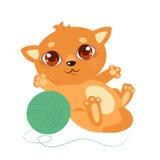 Piccola Cat With Big Eyes dolce Vettore Kitty On del fumetto un fondo bianco Fotografie Stock