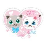 Piccola Cat Vector Illustration sveglia Amore Cat Cartoon Vector Progettazione della maglietta Immagine Stock