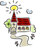 Piccola chiesa variopinta del paese Fotografia Stock Libera da Diritti