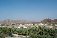 Piccola città araba situata fra i montains e la foresta delle palme Immagini Stock