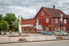 Piccola città lettone Gulbene Immagine Stock