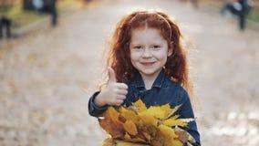 Piccola condizione sveglia della figlia della testarossa nel parco di autunno e esaminare la macchina fotografica Lei foglie gial stock footage