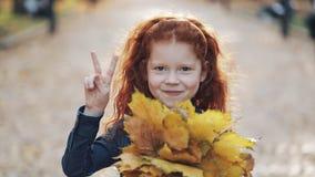 Piccola condizione sveglia della figlia della testarossa nel parco di autunno e esaminare la macchina fotografica Lei foglie gial archivi video